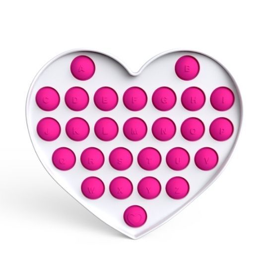 Pop it - Fidgetová antistresová hra - růžové srdce abeceda GMEX GASTROMEX