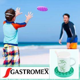 Pop it MEGA GMEX - Fidgetová antistresová hra - duha rainbow čtverec velký včetně karabinky GMEX GASTROMEX